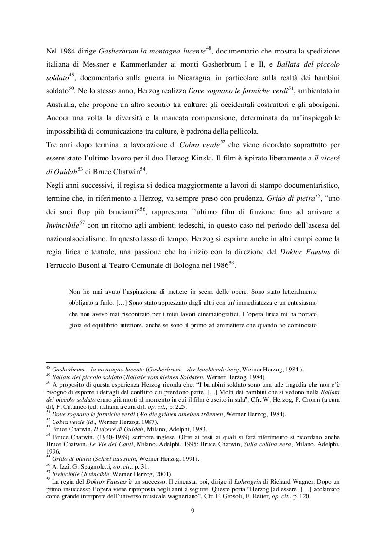 Estratto dalla tesi: Appunti per un'analisi dell'ambientazione in Werner Herzog