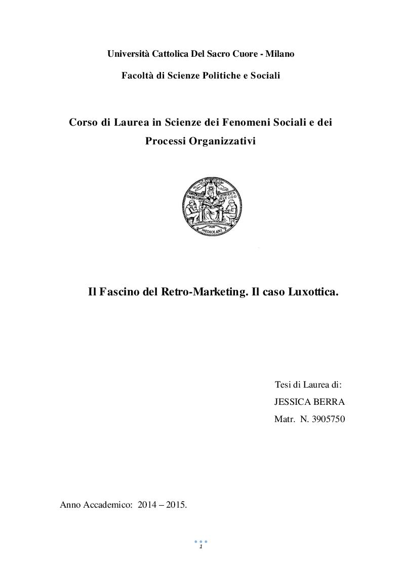 Anteprima della tesi: Il Fascino del Retro-Marketing. Il caso Luxottica., Pagina 1