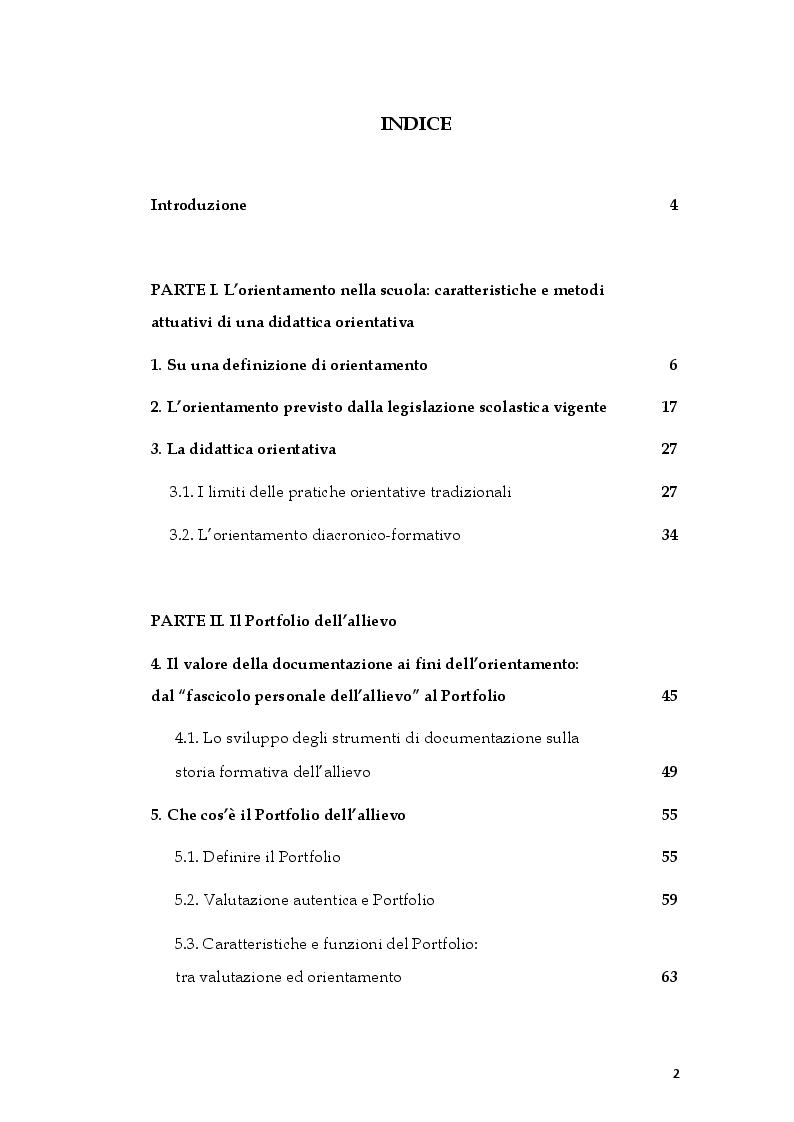 Indice della tesi: L'ePortfolio come strumento per l'orientamento diacronico-formativo, Pagina 1