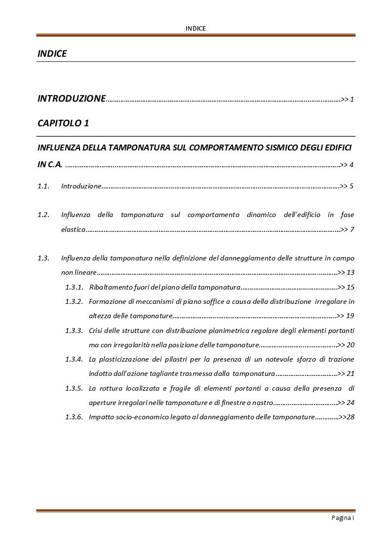 Indice della tesi: Influenza delle tamponature sulla risposta dinamica di edifici in cemento armato, Pagina 1