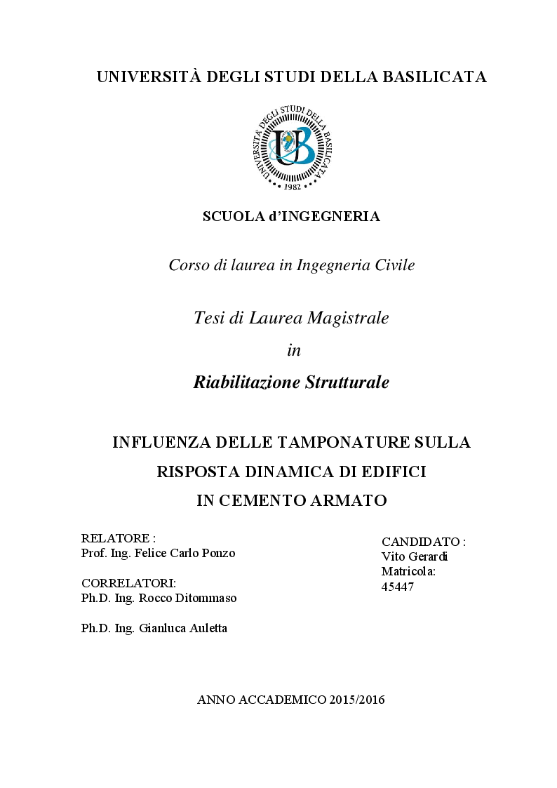 Anteprima della tesi: Influenza delle tamponature sulla risposta dinamica di edifici in cemento armato, Pagina 1