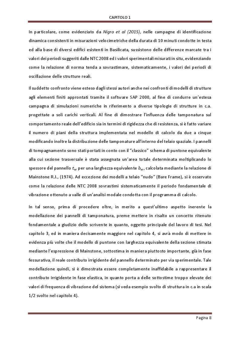 Anteprima della tesi: Influenza delle tamponature sulla risposta dinamica di edifici in cemento armato, Pagina 6