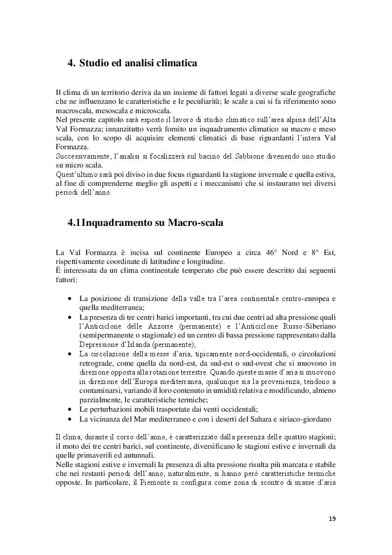 Estratto dalla tesi: Studio ed Analisi microclimatica riguardante il settore alpino dell'Alta Val Formazza