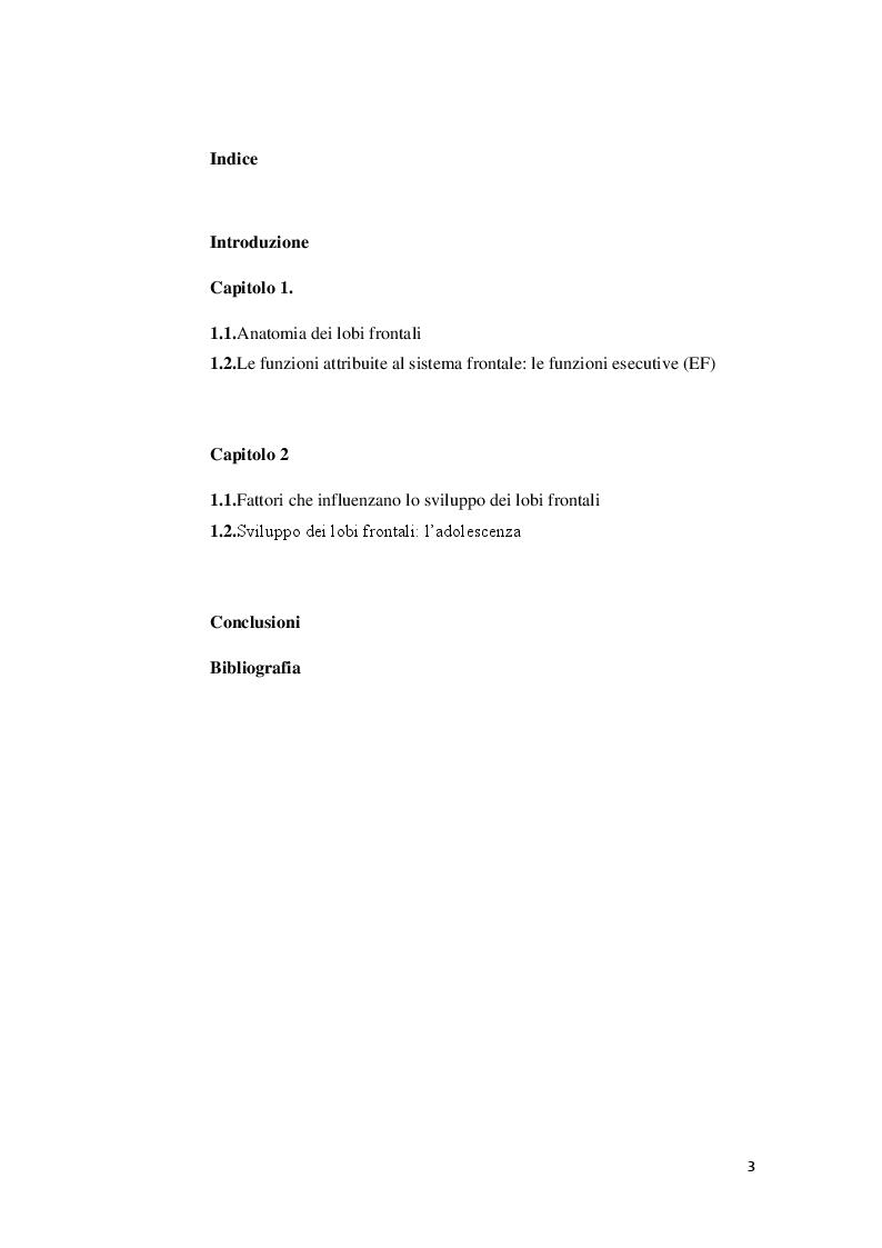 Indice della tesi: Lobi frontali: anatomia, funzioni e sviluppo, Pagina 1