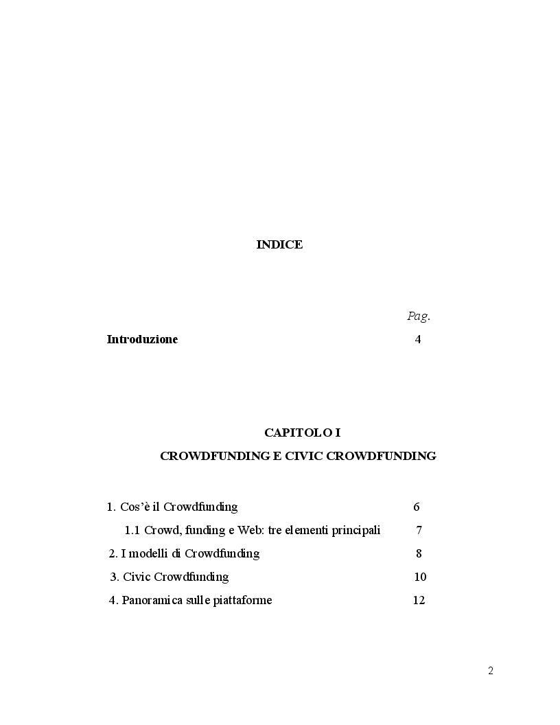 Indice della tesi: Civic Crowdfunding nel settore culturale: #Adottaunamaiolica, un case study di successo., Pagina 1