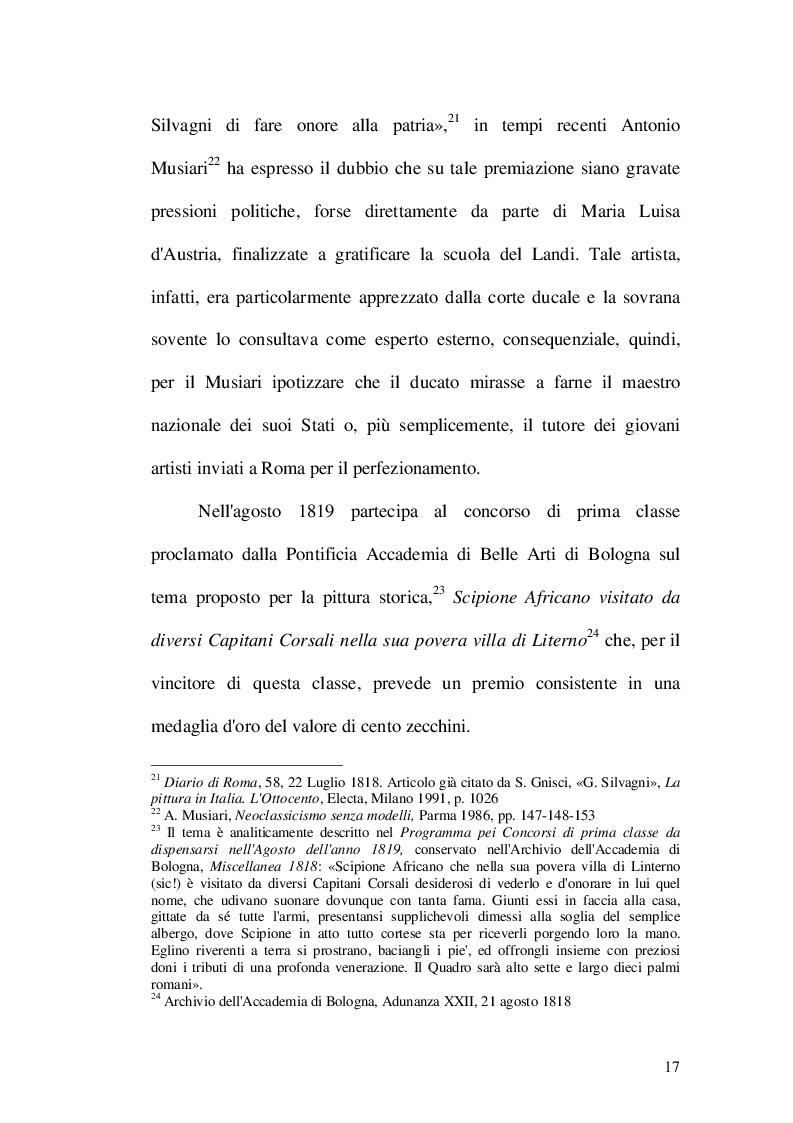 Estratto dalla tesi: Giovanni Silvagni (1790-1853) pittore romano tra Neoclassicismo e Restaurazione