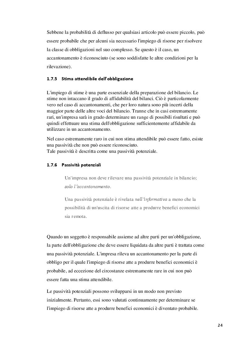 Estratto dalla tesi: IAS37 e comportamenti aziendali da adottare in caso di avvenimento di eventi non previsti