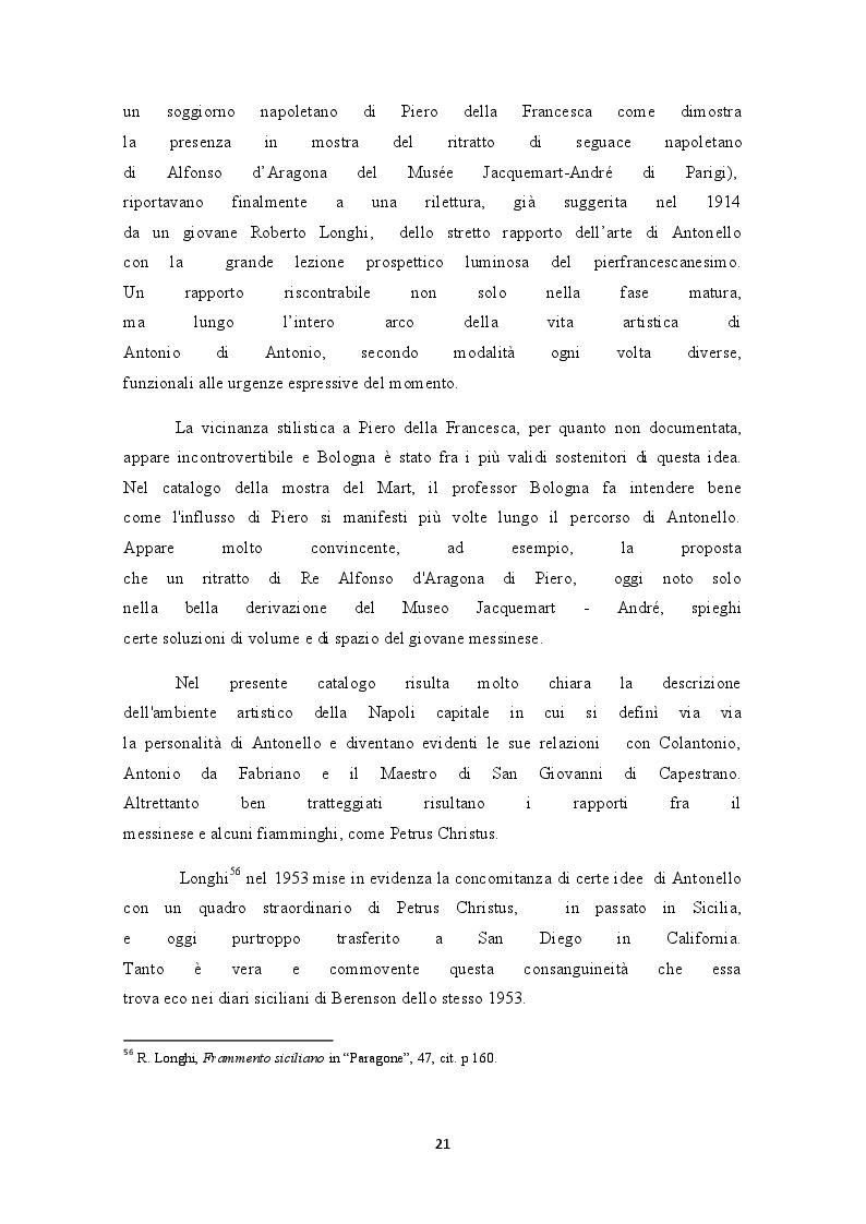 Estratto dalla tesi: Storia critica del rapporto Antonello da Messina - Piero della Francesca (da Roberto Longhi ai giorni nostri)