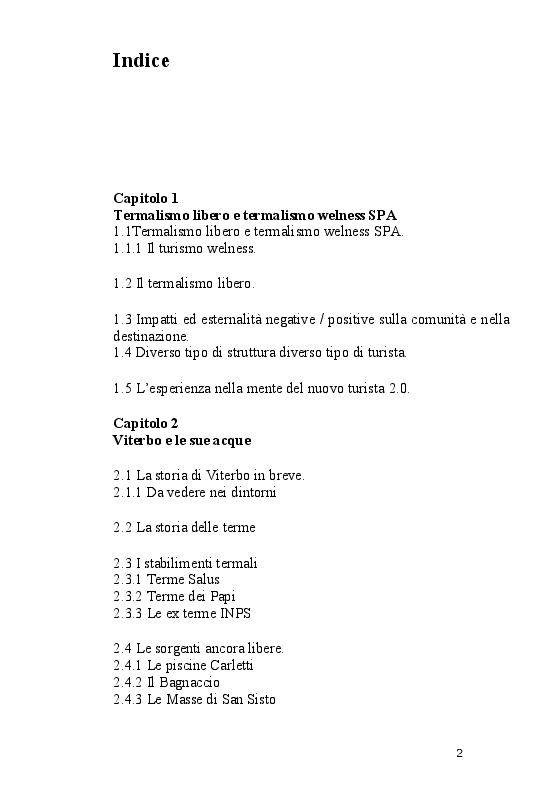 Indice della tesi: Termalismo Libero vs Welness: Il caso Bullicame, Pagina 1