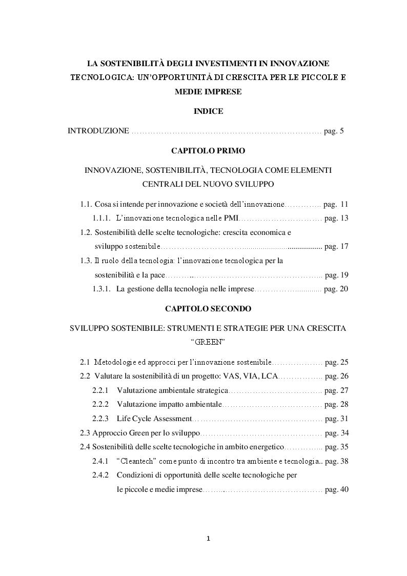 Indice della tesi: La sostenibilità degli investimenti in innovazione tecnologica: un'opportunità di crescita per le piccole e medie imprese, Pagina 1
