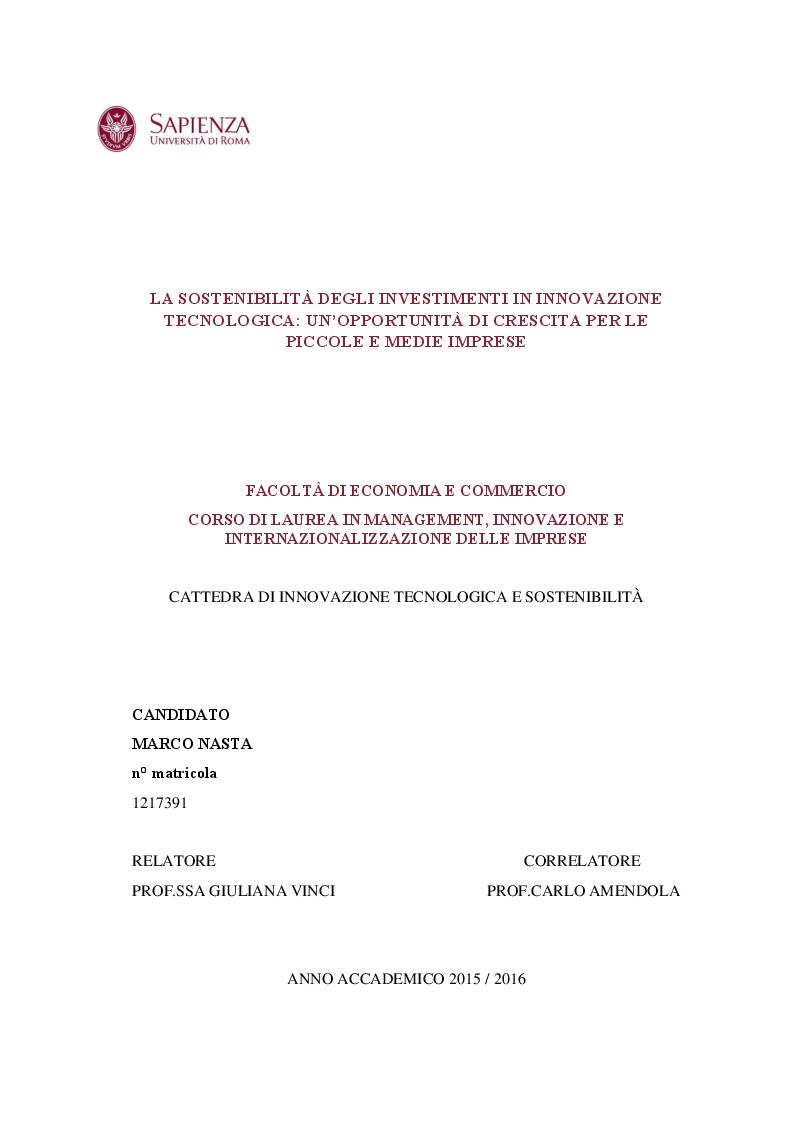 Anteprima della tesi: La sostenibilità degli investimenti in innovazione tecnologica: un'opportunità di crescita per le piccole e medie imprese, Pagina 1