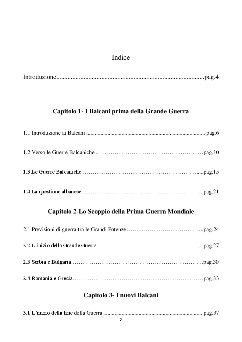 Indice della tesi: I Balcani e la Prima Guerra Mondiale, Pagina 1