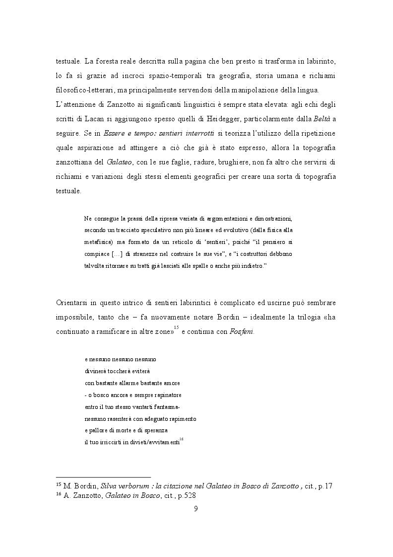Estratto dalla tesi: Voce e luoghi nel Galateo in Bosco di Andrea Zanzotto