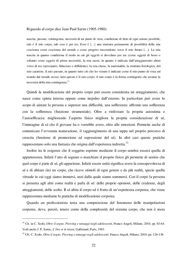 Estratto dalla tesi: Modificazioni corporee: una questione transculturale. Strategie di prevenzione e di educazione per la promozione del benessere e della salute nei giovani