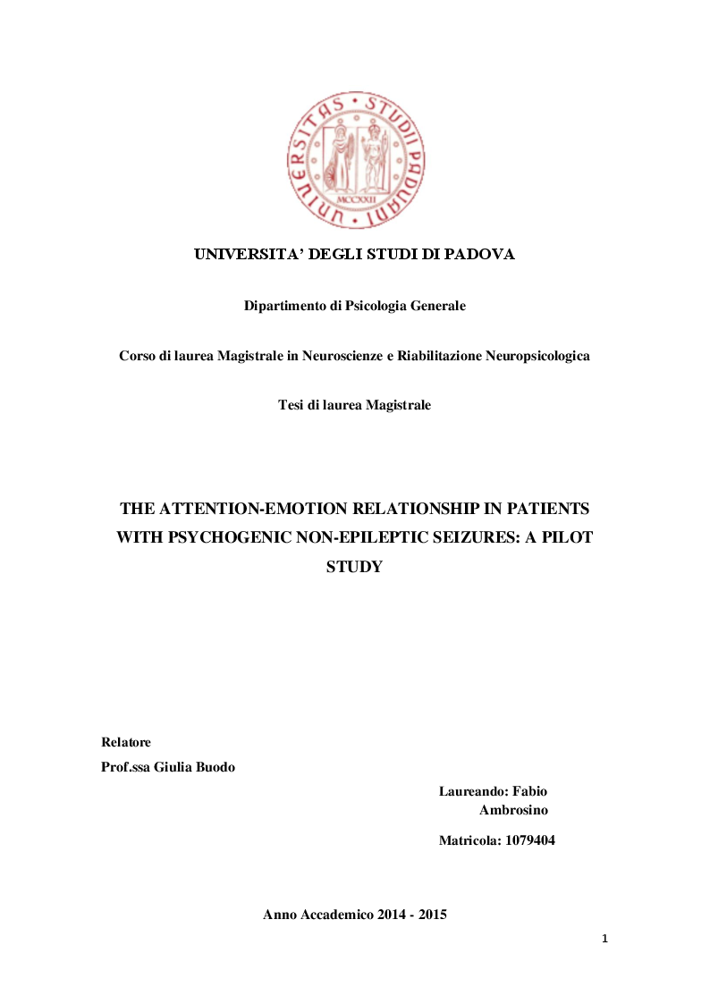 Anteprima della tesi: The attention-emotion relationship in patients with psychogenic non-epileptic seizures: a pilot study, Pagina 1