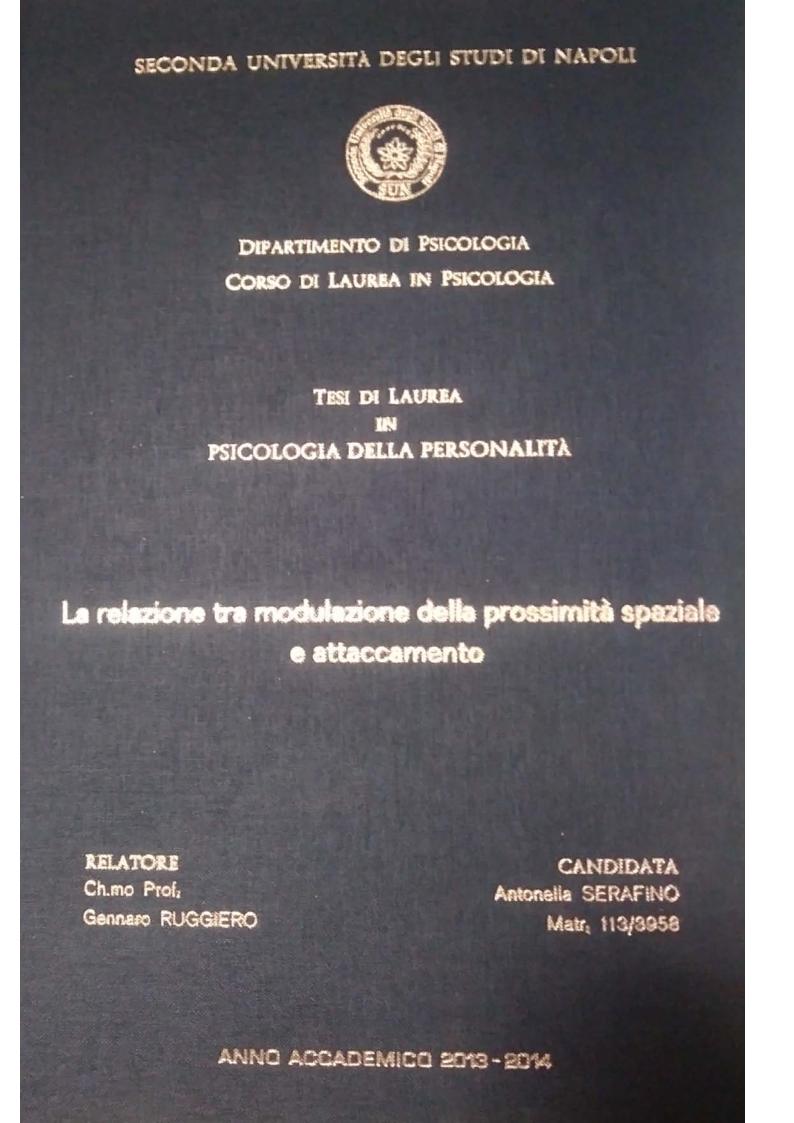 Anteprima della tesi: La relazione tra  modulazione della prossimità spaziale e attaccamento, Pagina 1
