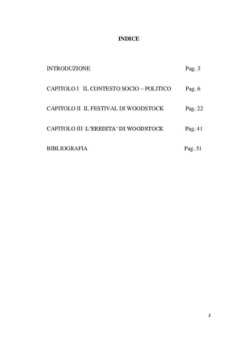 Indice della tesi: L'impatto socio - culturale di Woodstock, Pagina 1