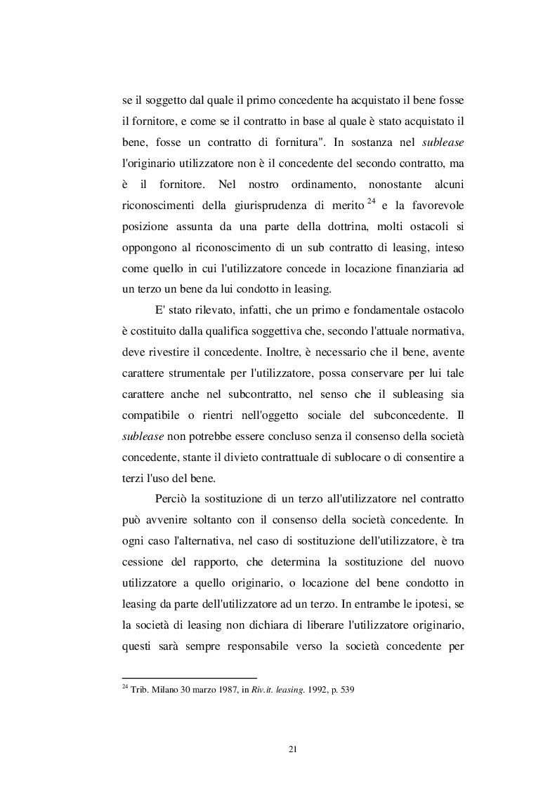 Estratto dalla tesi: Patologie del contratto di Leasing
