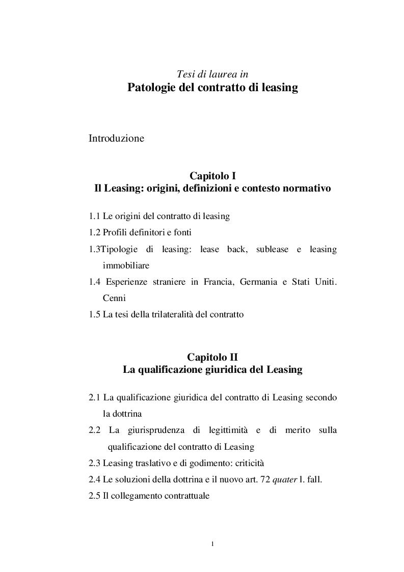 Indice della tesi: Patologie del contratto di Leasing, Pagina 1
