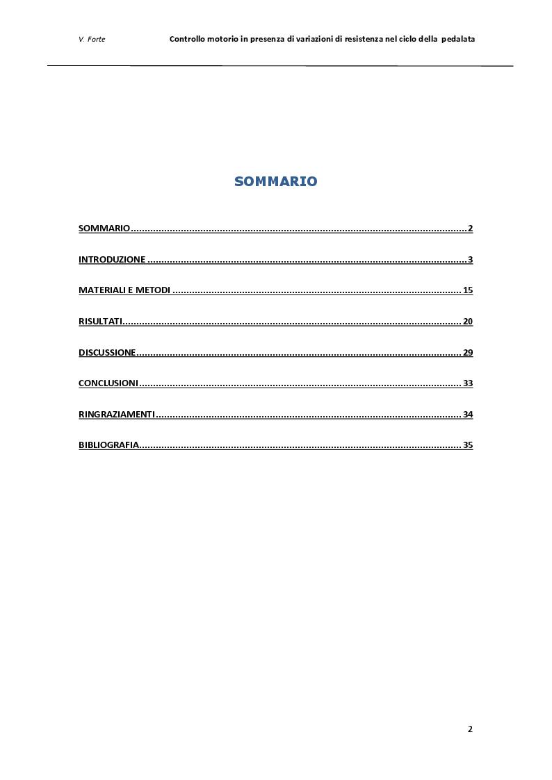 Indice della tesi: Controllo motorio in presenza di variazioni di resistenza nel ciclo della pedalata, Pagina 1
