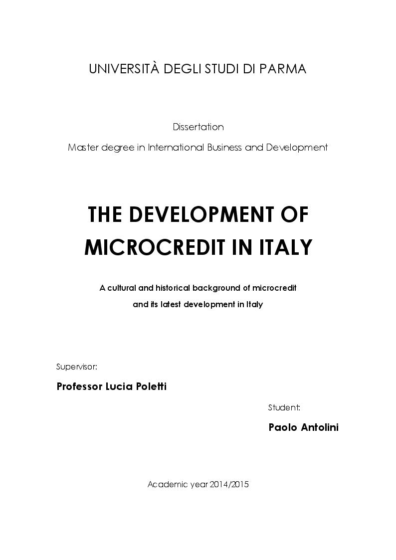 Anteprima della tesi: The development of Microcredit in Italy, Pagina 1