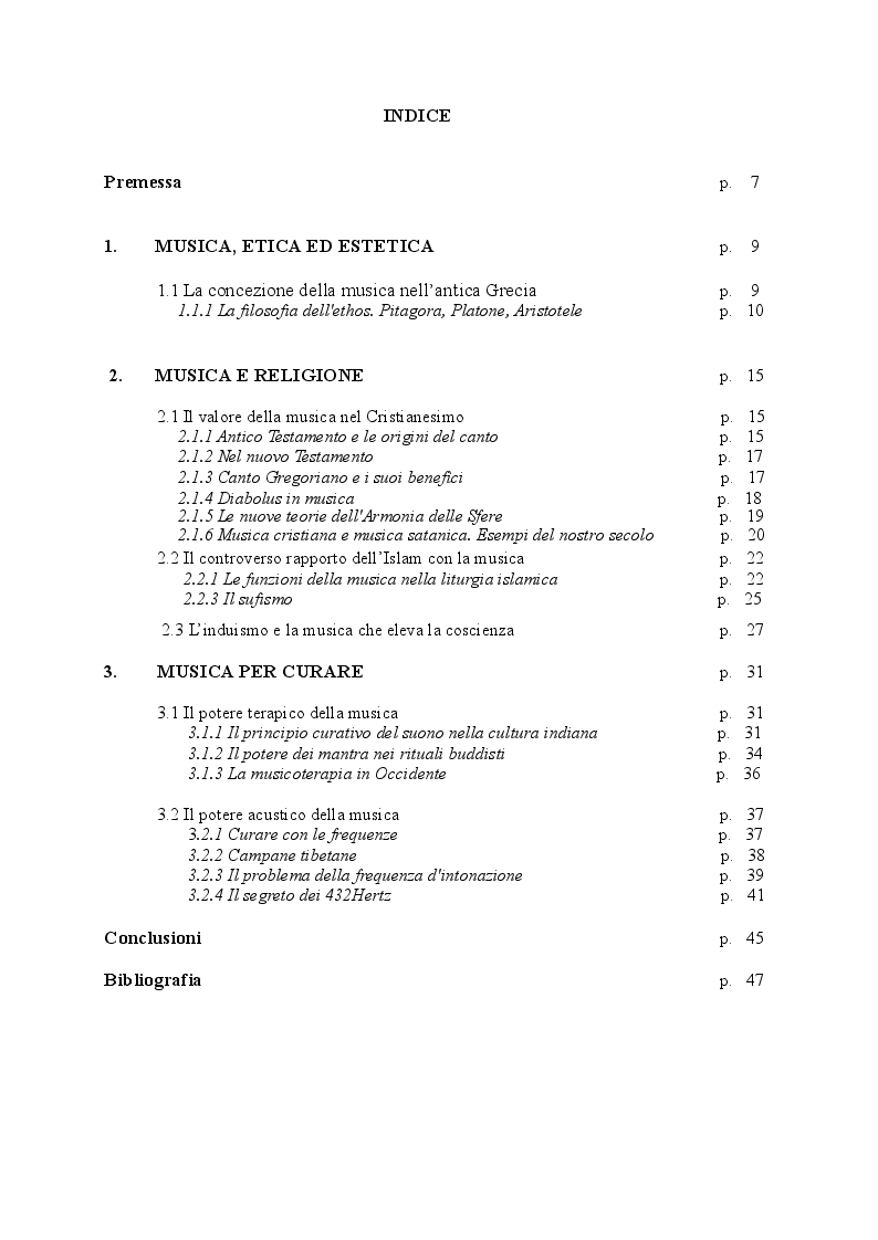 Indice della tesi: Musica buona, musica cattiva. Ambivalenza dei suoni in una prospettiva transculturale, Pagina 1