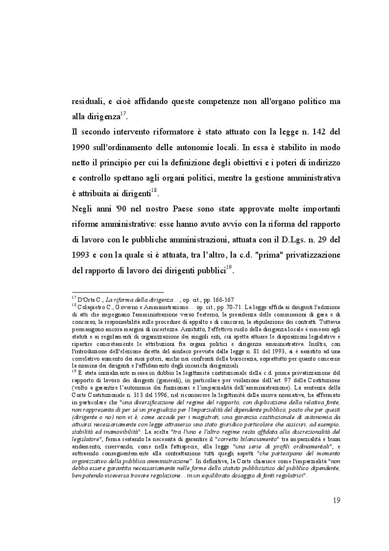 Estratto dalla tesi: La dirigenza pubblica tra politica e amministrazione