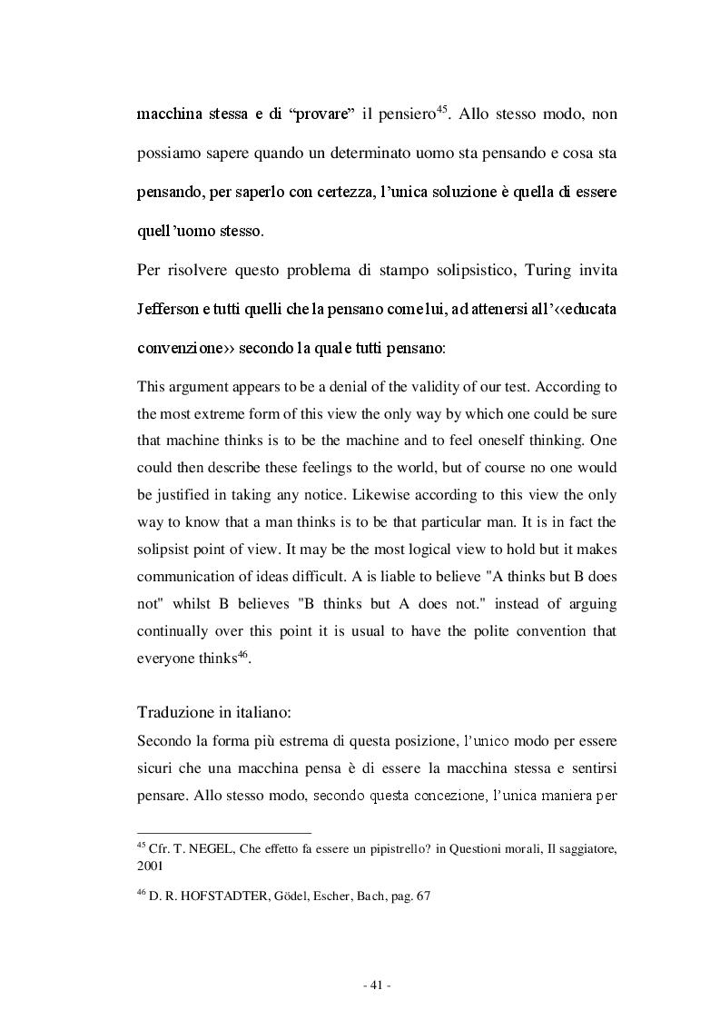 Estratto dalla tesi: Il test di Turing e il problema della coscienza in Searle e Dennett