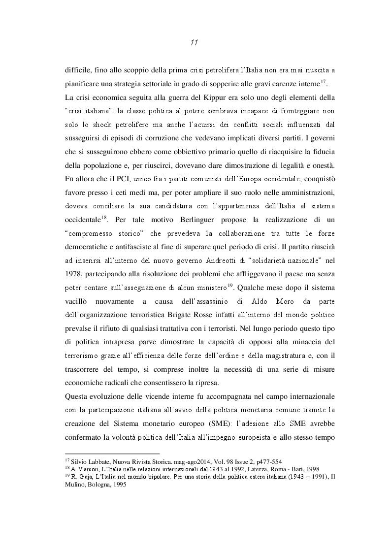 Estratto dalla tesi: L'Italia repubblicana e le relazioni politiche e commerciali con l'Iran (1950-2016)