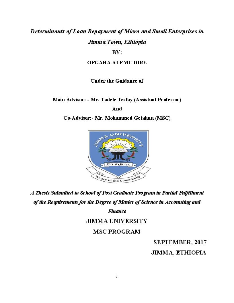 Anteprima della tesi: Determinants of Loan Repayment of Micro and Small Enterprises in Jimma Town, Ethiopia, Pagina 1