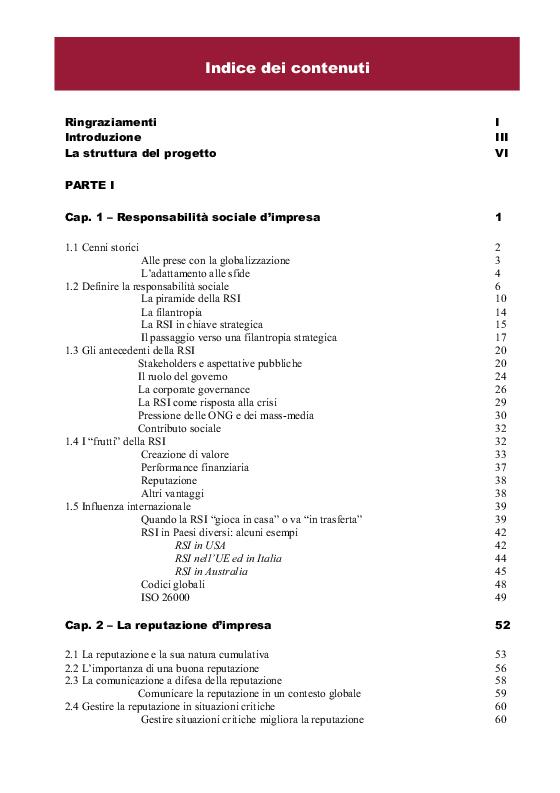 Indice della tesi: Comunicare la responsabilità sociale - Il case Nestlé in Australia, Pagina 1
