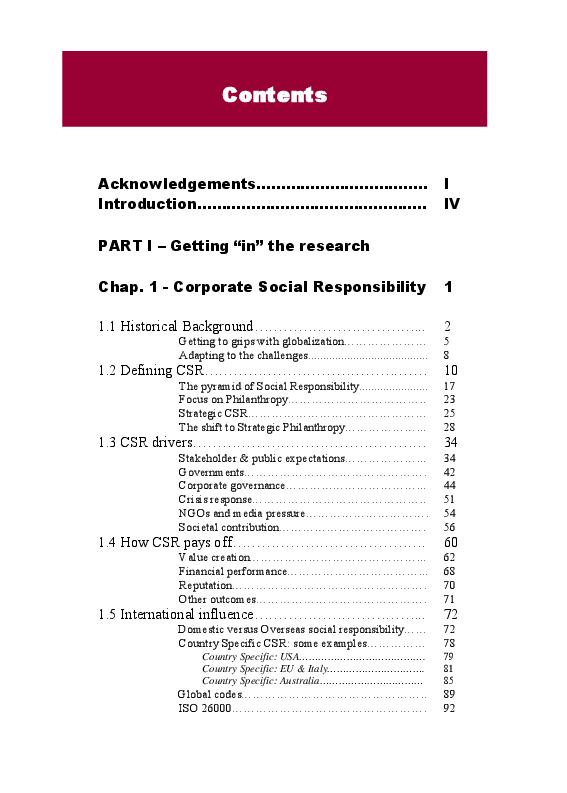 Indice della tesi: CSR and its communication at Nestlé Australia, Pagina 1