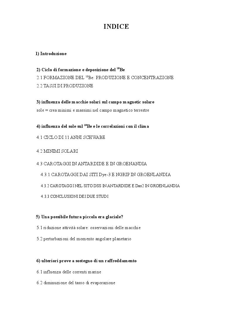 Indice della tesi: Utilizzo dell'isotopo 10 del berillio come indicatore dei cambiamenti climatici, Pagina 1