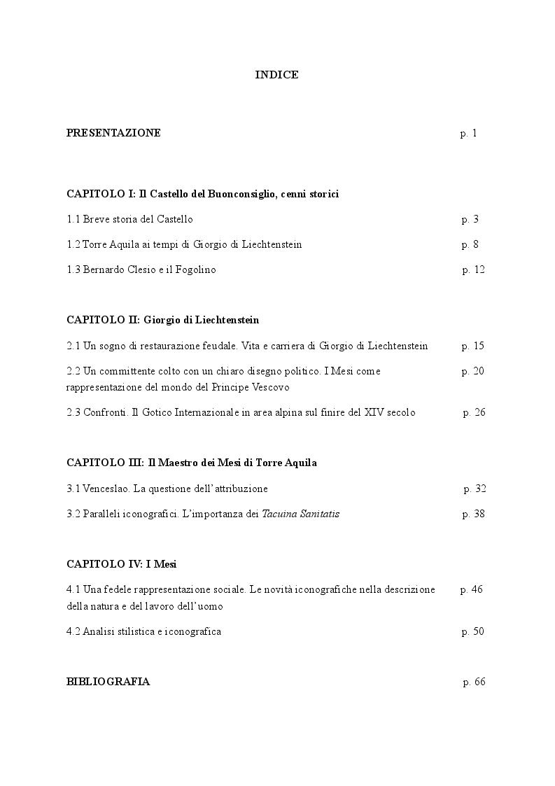 Indice della tesi: I Mesi del Buonconsiglio , Pagina 1
