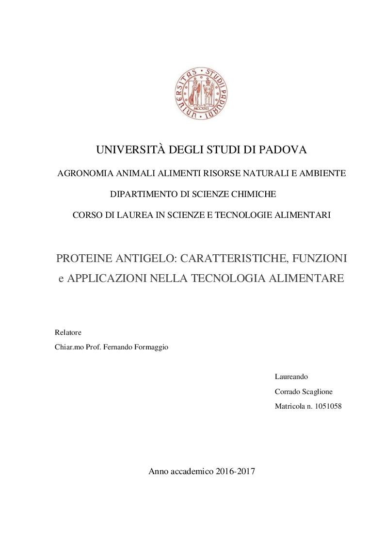 Anteprima della tesi: Proteine antigelo: caratteristiche, funzioni e applicazione alla tecnologia alimentare, Pagina 1