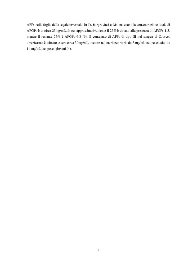 Anteprima della tesi: Proteine antigelo: caratteristiche, funzioni e applicazione alla tecnologia alimentare, Pagina 5