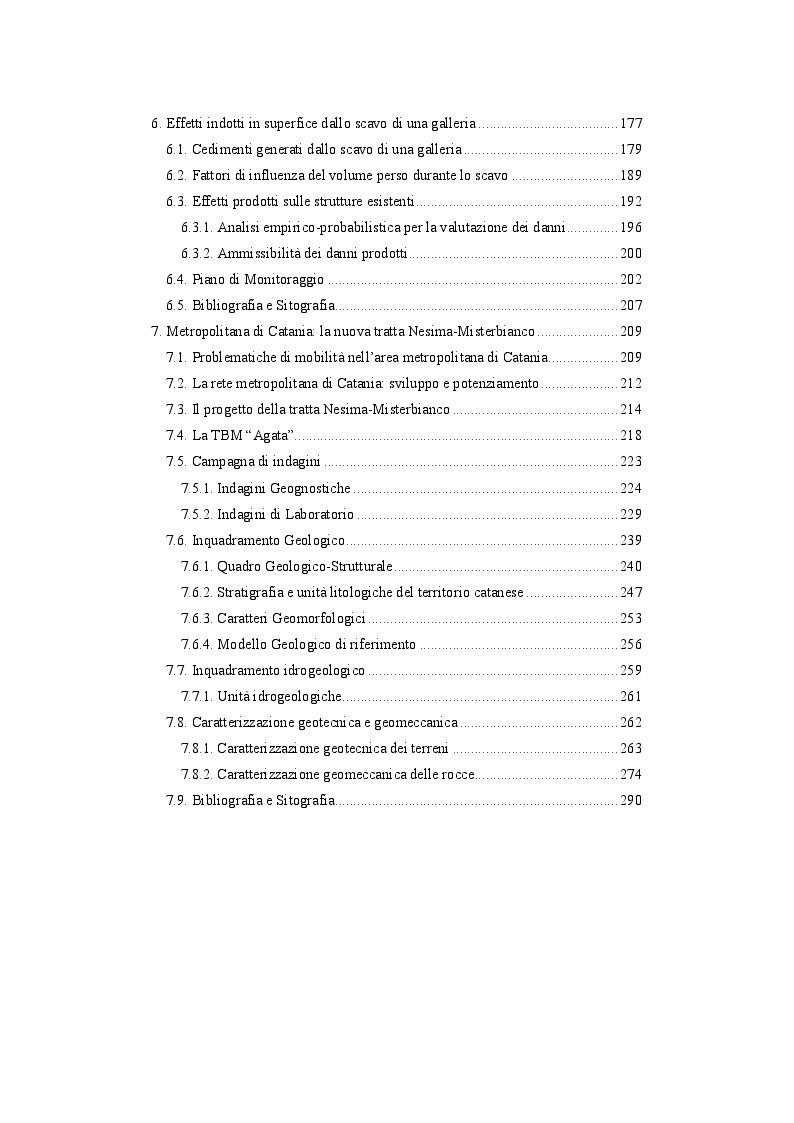 """Indice della tesi: Analisi di stabilità di gallerie scavate mediante TBM EPB: """"il caso della nuova linea metropolitana di Catania"""", Pagina 3"""