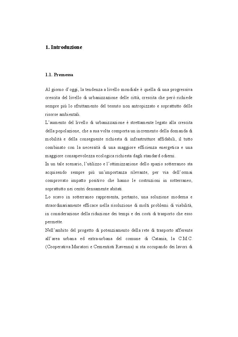 """Anteprima della tesi: Analisi di stabilità di gallerie scavate mediante TBM EPB: """"il caso della nuova linea metropolitana di Catania"""", Pagina 2"""