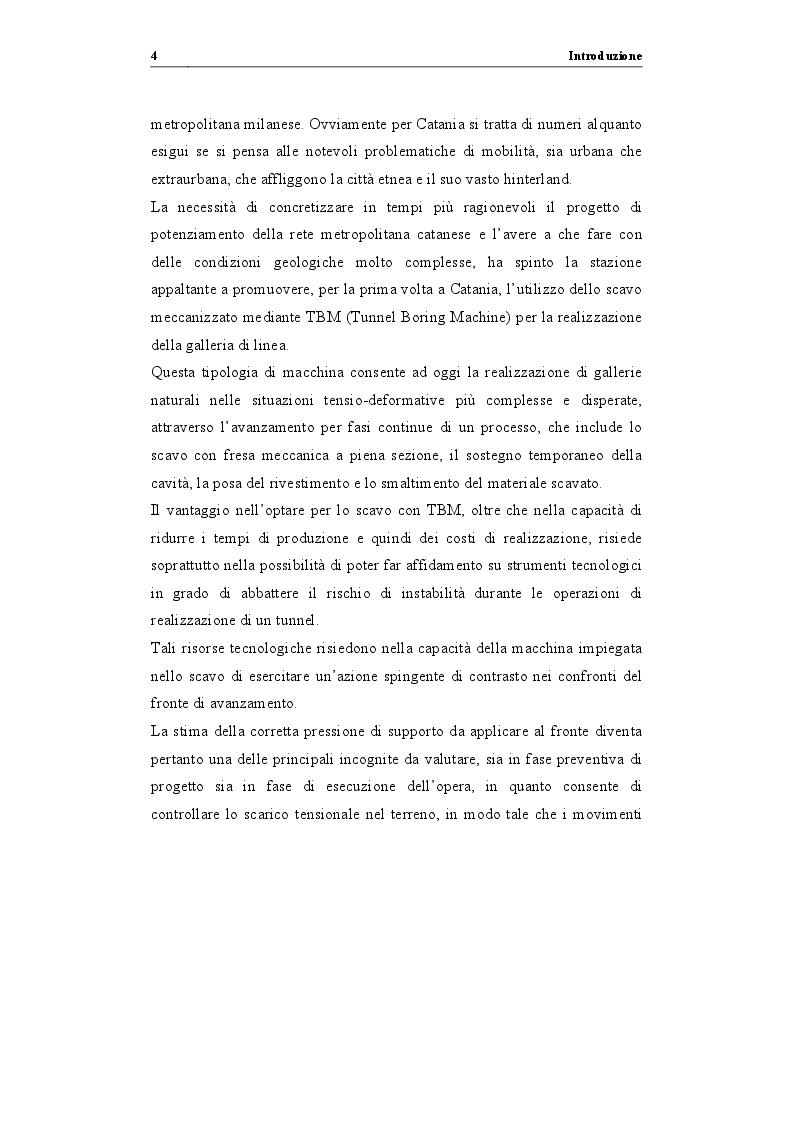 """Anteprima della tesi: Analisi di stabilità di gallerie scavate mediante TBM EPB: """"il caso della nuova linea metropolitana di Catania"""", Pagina 5"""