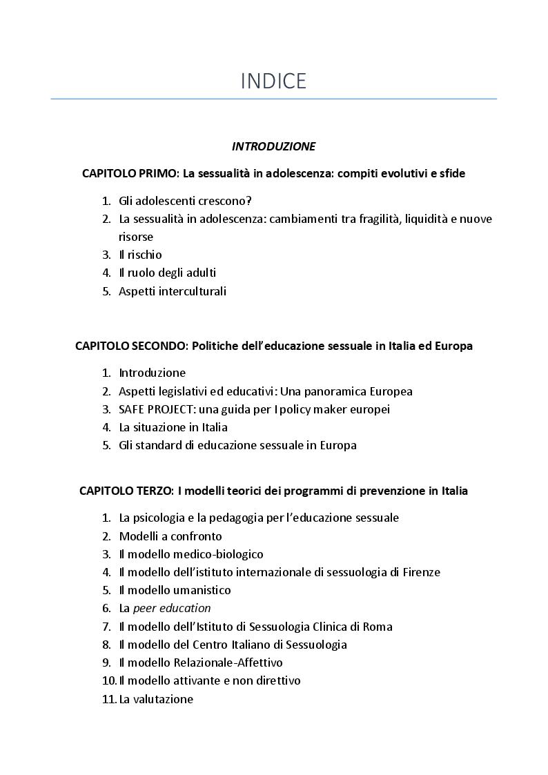 Indice della tesi: L'educazione sessuale degli adolescenti. Modelli, politiche e culture a confronto, Pagina 1