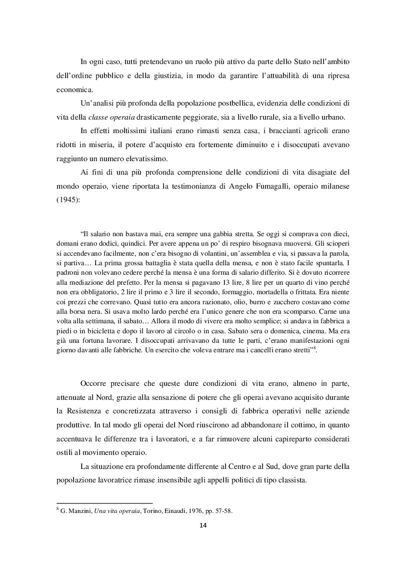 Estratto dalla tesi: Politica e società in Italia nel secondo dopoguerra