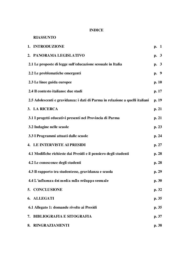 Indice della tesi: Educazione sessuale nelle scuole: prevenire... è meglio che curare, Pagina 1