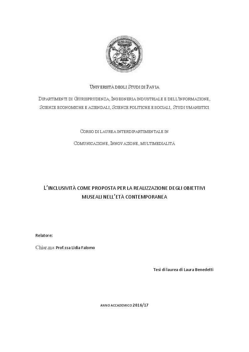 Anteprima della tesi: L'inclusività come proposta per la realizzazione degli obiettivi museali nell'età contemporanea, Pagina 1