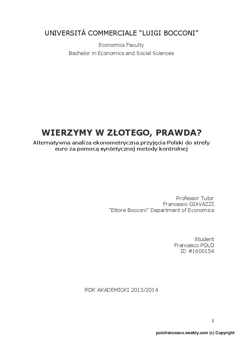 Anteprima della tesi: Wierzymy w Zlotego, prawda?, Pagina 1