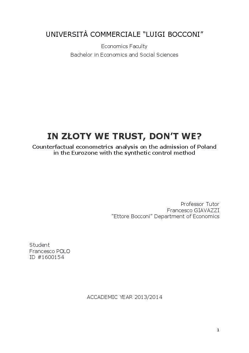 Anteprima della tesi: In Zloty we trust, don't we?, Pagina 1