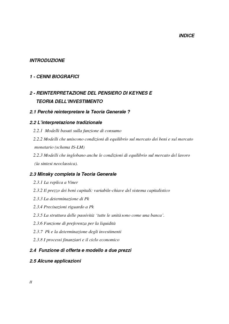 Indice della tesi: Hyman P. Minsky: da Keynes all'ipotesi di instabilità finanziaria, Pagina 1