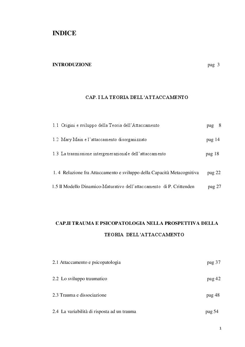 """Indice della tesi: Il ruolo delle funzioni genitoriali nei casi di """"trauma complesso"""", Pagina 1"""