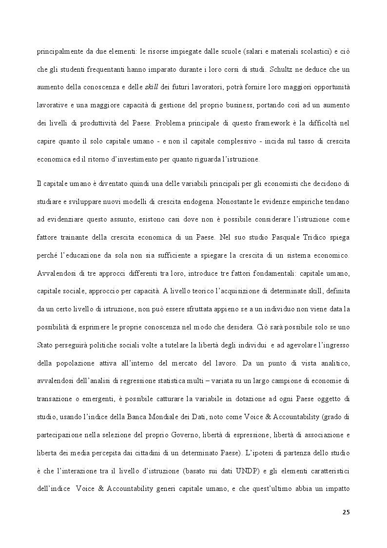 Estratto dalla tesi: Modelli di crescita e capitale umano: un'analisi con i dati Almalaurea sul caso dell'Italia