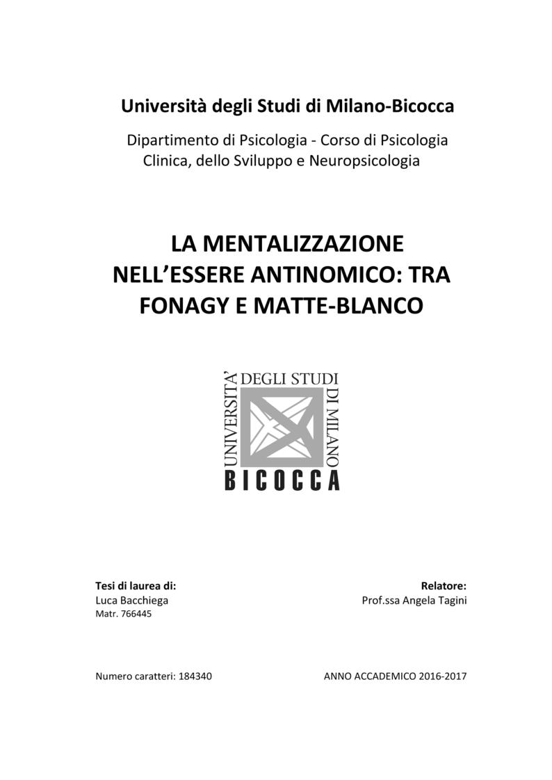 Anteprima della tesi: La mentalizzazione nell'essere antinomico: tra Fonagy e Matte-Blanco, Pagina 1