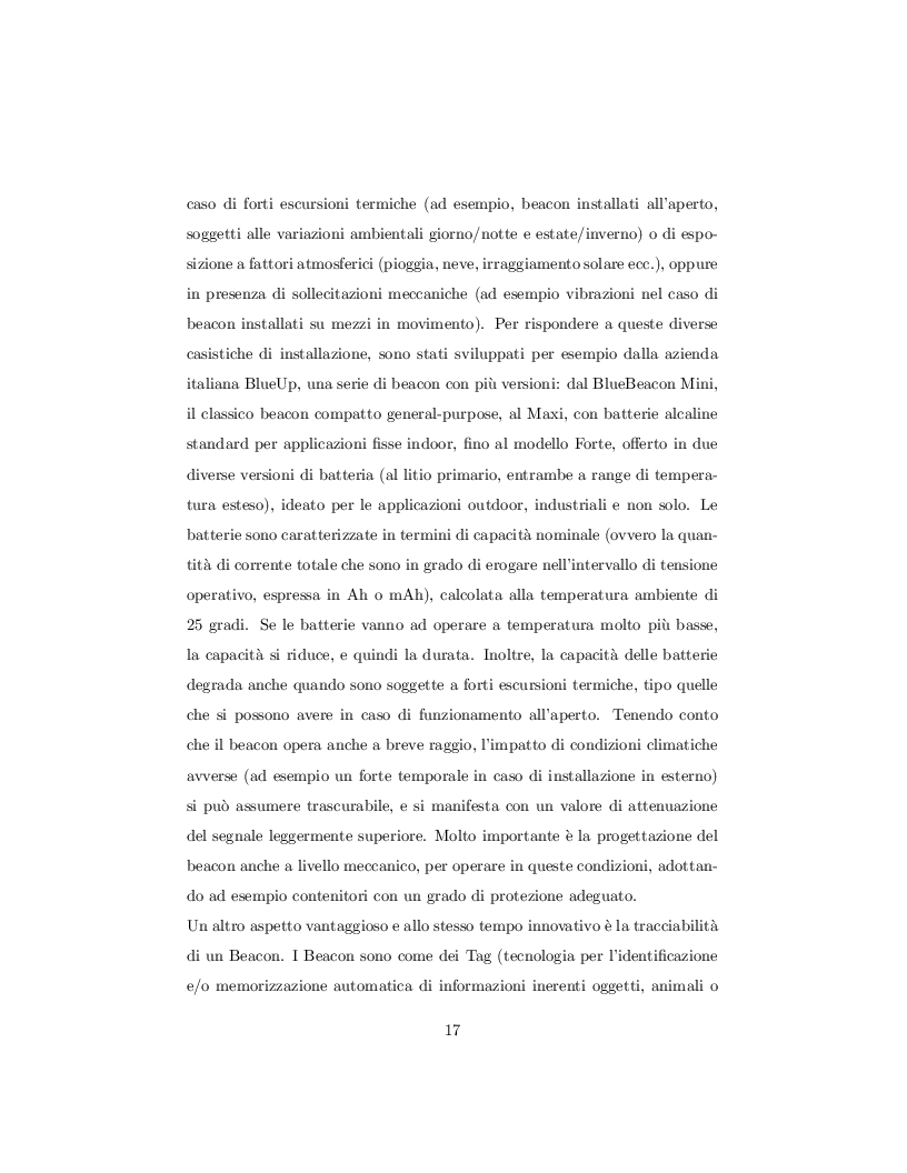 Estratto dalla tesi: I Beacon, interazione tra mobile app e dispositivi BLE